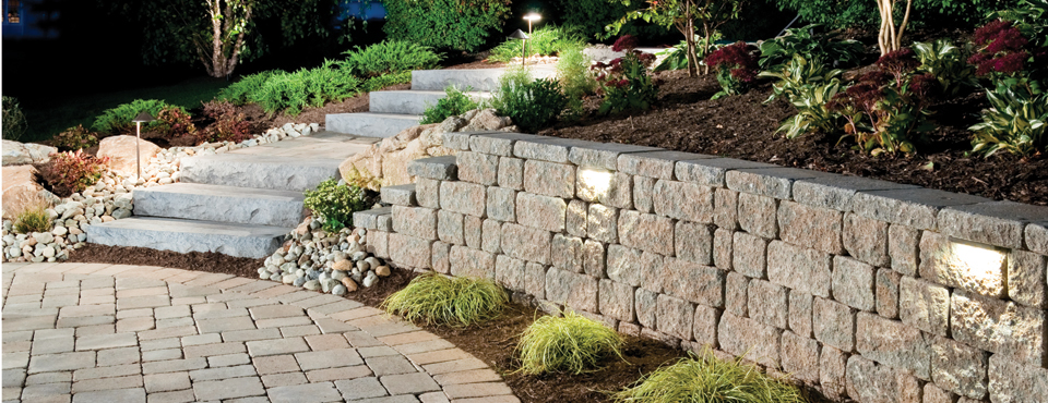 retaining wall, landscape design, paver patio
