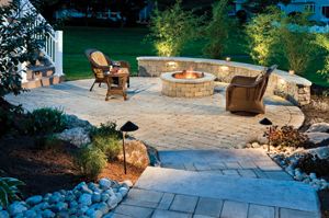 Backyard fire pit area after makeover